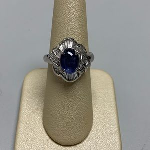 Jewelry - Platinum Sapphire and Diamond Ring Size 6 1/4